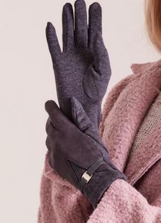 Śliczne modne GRAFITOWE rękawiczki damskie