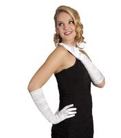 Rękawiczki satynowe białe 60 cm