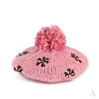 Czapka damska beret z haftowanymi gwiazdkami i dżetami różowy melanż