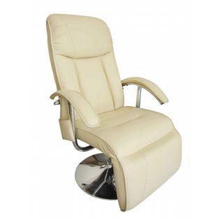 Fotel Masujący, Biały, Sztuczna Skóra