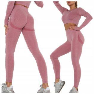 Komplet sportowy legginsy bezszwowe + top róż S