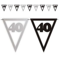 Banner flagi 40 URODZINY czarno srebrny XL 3,6 m