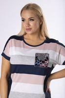Bluzka z aplikacją na biuście - Granatowy XL