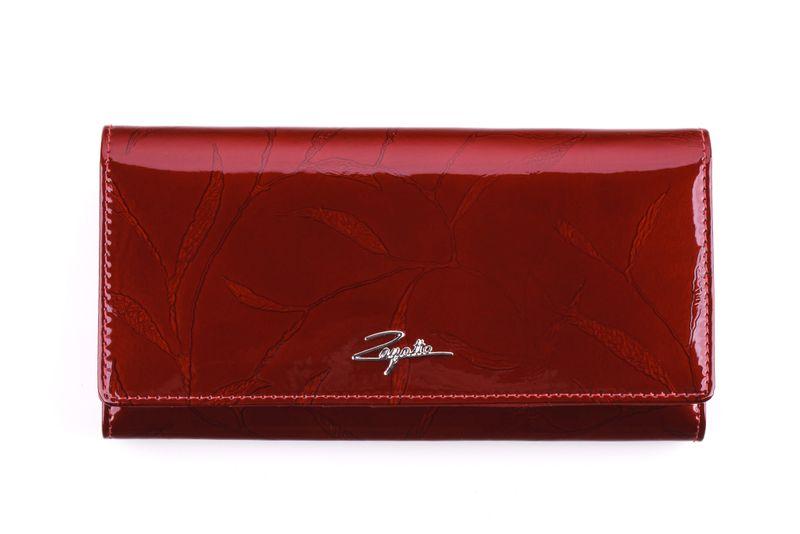 Portfel skórzany damski Zagatto czerwony w liście RFID ZG-102 Leaf zdjęcie 2