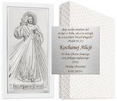OBRAZEK SREBRNY 8x13,5cm JEZUS MIŁOSIERNY