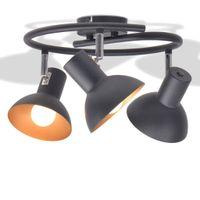 LAMPA SUFITOWA NA 3 ŻARÓWKI REGULOWANA DO POKOJU OKRĄGŁA CZARNA
