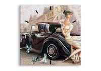 Zegar Ścienny - Retro Auto Dama  - 50X50 Cm - C3Ac50X50-3467