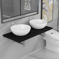 Lumarko Trzyczęściowy zestaw mebli do łazienki, ceramiczny, czarny!