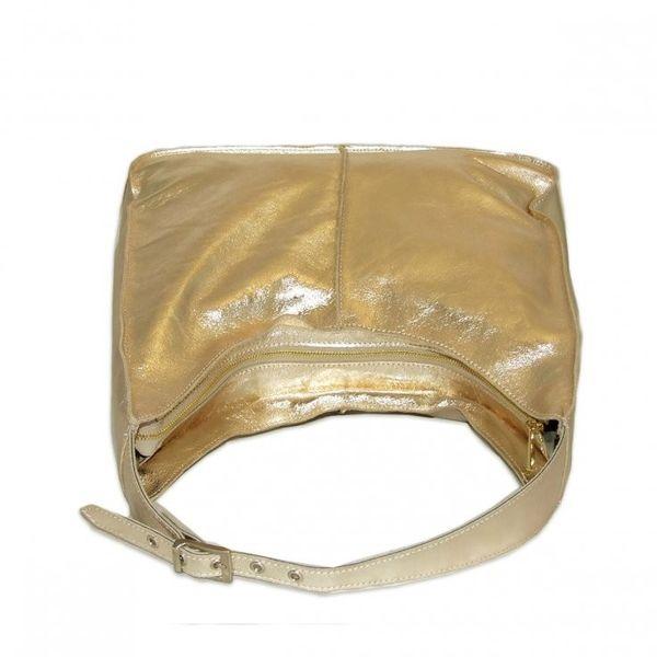 19d6e255ef2586 Borsa in Pelle worek skórzana torebka damska metaliczna złota na ramię  zdjęcie 4