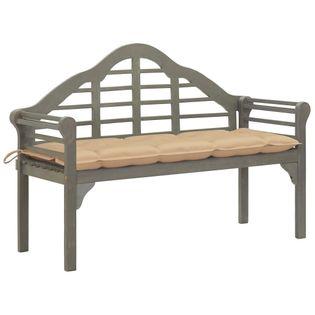 Lumarko Ławka ogrodowa Queen z poduszką, 135 cm, drewno akacjowe, szara