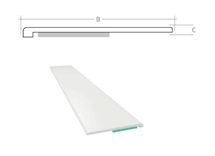 Listwa okienna PCV B=55mm C=1mm biała bez uszczelki L=50mb