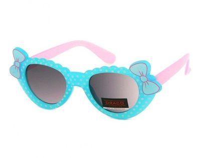 Okulary przeciwsłoneczne dziecięce UV 400 GROSZKI, niebiesko-różowe
