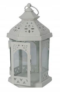 Latarnia lampion świecznik 24 cm Biały