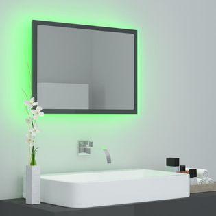 Lumarko Lustro łazienkowe z LED, szare na wysoki połysk, 60x8,5x37 cm!