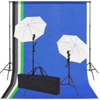 Sprzęt Do Studia Fotograficznego: Tło 5 Kolorów I 2 Parasolki