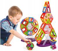 KLOCKI MAGNETYCZNE 117 elementów dla dzieci MAGNETIC Magic Blocks Z215