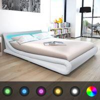 Rama łóżka 160x200cm, LED, sztuczna skóra, biała