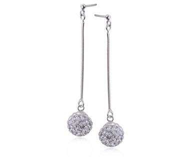 Srebrne wiszące kolczyki kuleczki z kryształkami Swarovski srebro 925 FK178