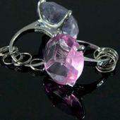 Diamentowy brelok różowy PIERŚCIONEK z brylantem zdjęcie 3
