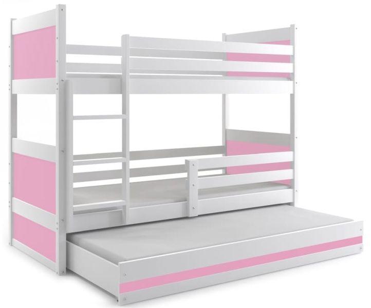 Łóżko meble dla dzieci drewniane Mateusz 190x80 piętrowe 3osobowe zdjęcie 1