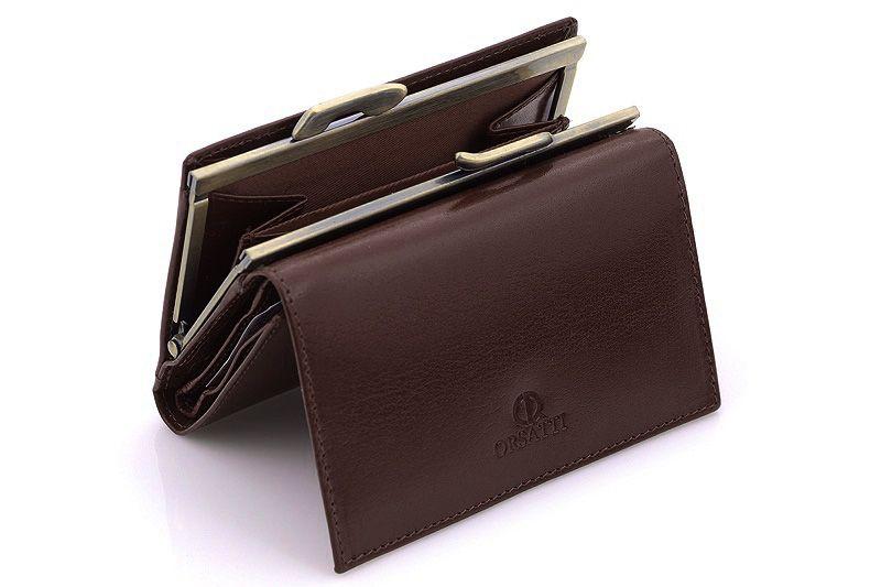 Skórzany portfel damski Orsatti D-02B w kolorze brązowym zdjęcie 5