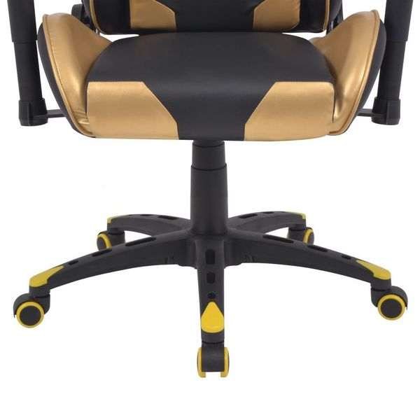 Rozkładane Krzesło Biurowe, Sportowe, Sztuczna Skóra, Złote zdjęcie 5