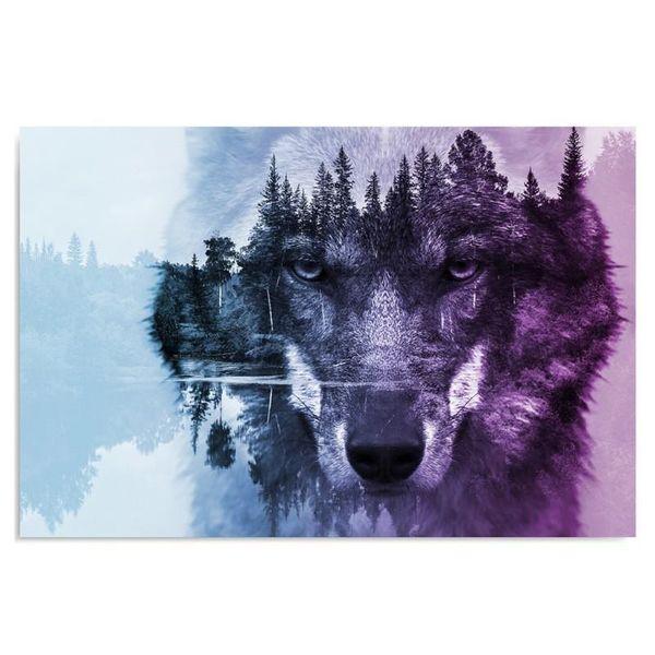 Obraz na płótnie - Canvas, Wilk na tle lasu - fioletowy nowoczesny 70x50 zdjęcie 1