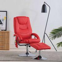 Fotel Do Masażu Z Podnóżkiem, Regulowany, Czerwony, Ekoskóra