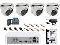 Zestaw monitoringu na 4 kamery HDTVI z szerokim kątem widzenia FULL HD