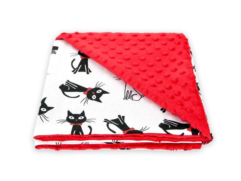 Kocyk koc BAWEŁNA / MINKY 50x75 cm Koty Czerwone zdjęcie 1
