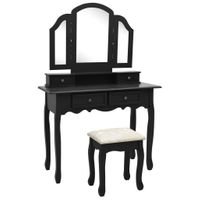 Toaletka ze stołkiem czarna 100x40x146cm drewno paulowni VidaXL