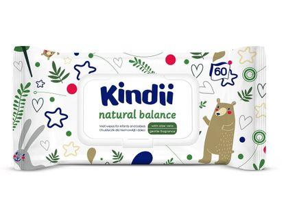 CLEANIC Kindii Natural Balance 60szt - chusteczki pielęgnacyjne dla niemowląt i dzieci