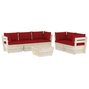 Lumarko 6-cz. ogrodowy zestaw wypoczynkowy z palet, poduszki, świerk