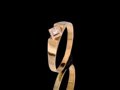 P472 Złoty pierścionek z cyrkonią 585 /Jubi