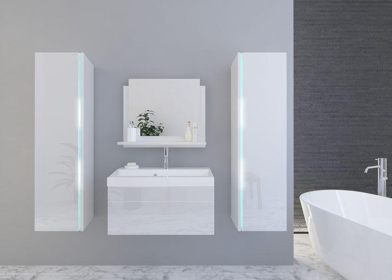 Stylowe Meble łazienkowe Shine Biały Połysk Szafki Wiszące Led