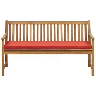 Ławka ogrodowa z certyfikowanego drewna 160 cm czerwona poduszka VIVARA