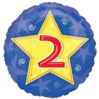 Balon foliowy 2 URODZINY niebieski GWIAZDA liczba