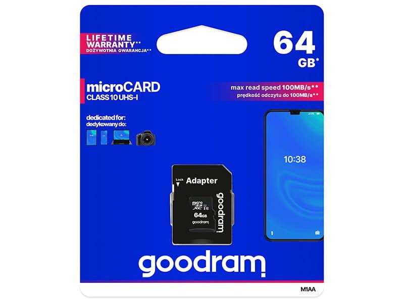 Karta pamięci Goodram microSDXC 64GB class 10 UHS-I + adapter na Arena.pl