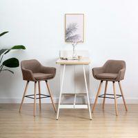 VidaXL Krzesła barowe z podłokietnikami, 2 szt., taupe, tkanina