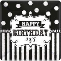 TALERZYKI urodziny HAPPY BIRTHDAY czarno białe x8