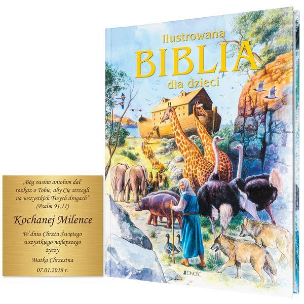 ILUSTROWANA BIBLIA DLA DZIECI z grawerem PREZENT NA CHRZEST KOMUNIĘ zdjęcie 2