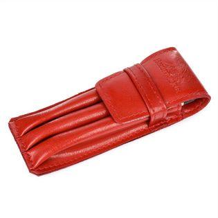 ETUI skórzane piórnik na długopisy płaskie J003 czerwone