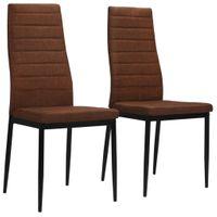 Krzesła stołowe 2 szt. brązowe tkanina VidaXL