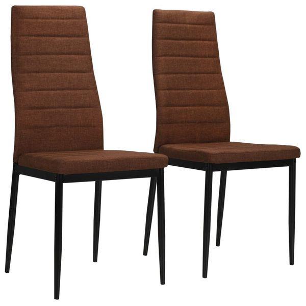 Krzesła stołowe 2 szt. brązowe tkanina VidaXL na Arena.pl