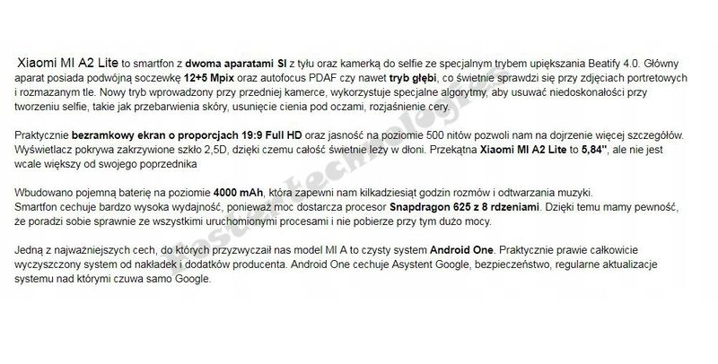 Xiaomi Mi A2 Lite 4/64 GB Złoty EU LTE DualSim zdjęcie 4