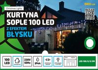 Kurtyna Sople LED 4,25 m • 100 LED • z efektem FLASH • na zewnątrz • możliwość łączenia • oświetlenie świąteczne NR 1777 Zimny biały (błyska zimny biały)