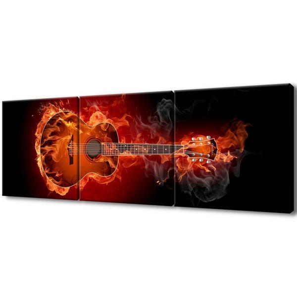 Obraz Na Płótnie 120X40 Płonąca Gitara zdjęcie 1
