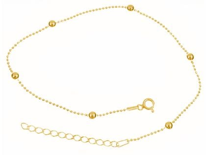 Elegancka pozłacana srebrna bransoletka na nogę kulki kuleczki srebro 925 ML239BNG