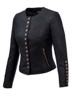 ALEXANDRA MILANO ETNA Czarna kurtka ze skóry jagnięcej typu chanelka ze złotymi guzikami. 40 IT