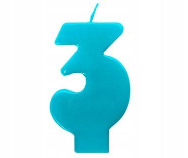 Świeczka na tort cyfra 3 niebieska